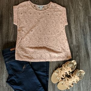 Peachy Pink Floral Cuffed Short Sleeve Top